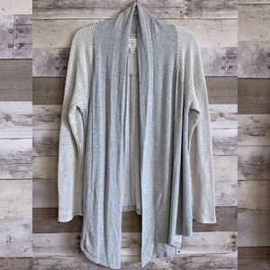 Lucky Lotus Gray Mix Wrap Open Cardigan Sweater